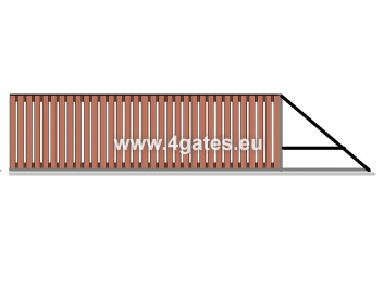 Sliding gate LUX VERTICAL WOODEN with built-in automatics